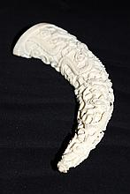 Chinese Carved Ivory Figural Tusk