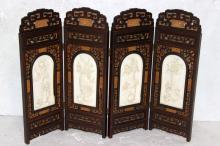 Rare Chinese 4-Panel Ivory & Wooden Screen