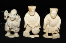 3 Pc. Chinese Carved Ivory Netsuke's