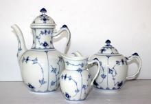 3 Pc. Royal Copenhagen Blue Lace Tea Set