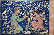 Edna Hibel (b. 1917) Painted Porcelain Plaque
