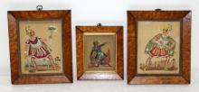 3 Framed Reverse Paintings w/ Tin