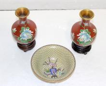 3 Pc. Cloisonne Vases & Bowl