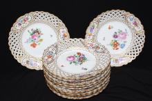 11 Pc. Meissen Pierced Porcelain Salad Plates