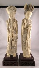 Pair of Chinese Hand Carved Ivory Figures of King & Queen