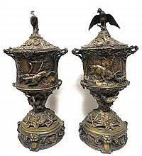 P.J. Mene (French 1810-1879) Bronze Urns