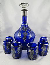 7 Pc. Silver Overlay Blue Glass Cups & Decanter