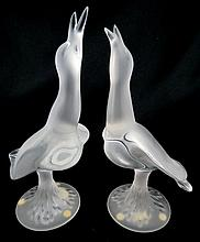 Pair of Lalique France Bird Figures