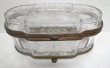 Antique European Cut Crystal & Bronze Vanity Box