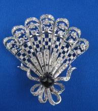 Art Deco Platinum, Diamond & Onyx Fan Brooch