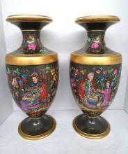 Pr. Antique Old Paris Porcelain Gilded & Painted Vases