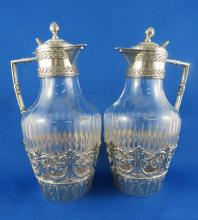 Pair of Sterling Silver & Crystal Miniature Pitchers