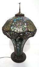 Tiffany Studios Style Spider Web Art Glass Bronze Lamp
