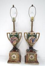 Pair of Royal Vienna Style Porcelain Lamps