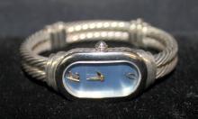David Yurman 18Kt YG & Sterling Blue Face Watch