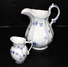 2 Pc. Royal Copenhagen Blue Lace Water Pitcher & Creamer