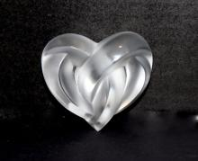 Lalique France Crystal Heart Paperweight