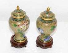 Pair of Cloisonne Covered Urns