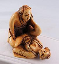 Antique Chinese Hand Carved Erotic Scene Netsuke