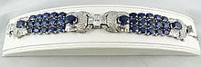 18Kt WG 8.99ct Diamond & 38.69ct Sapphire Bracelet