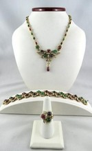 18K Yellow Gold Diamond Emerald, Ruby & Sapphire Suite