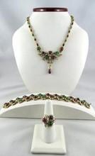 18K Yellow Gold Diamond Emerald, Ruby & Sapphire Suite
