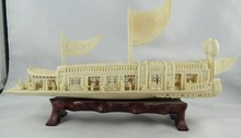 Antique Chinese Hand Carved Ivory Ship