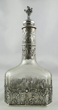 Antique European Silver & Crystal Decanter