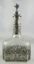 Antique European Silver & Crystal Decanter