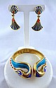 Vintage Trifari Enameled Egyptian Cobra Snake Bracelet & Matching Earrings