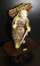 Late 19th C. Carved Ivory Okimono Old Woman Figurine