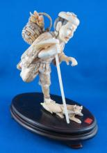 Late 19th C. Carved Ivory Okimono Farmer Figurine