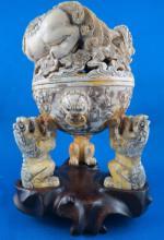 Fine Hand Carved Ivory Temple Incense Burner
