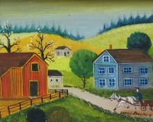 Jonas Bradford Folk Art Oil Painting