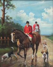 Decorative Equestrian Scene Oil Painting