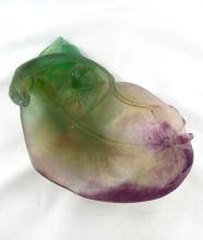 Daum Pate de Verre Salamander Crystal Dish