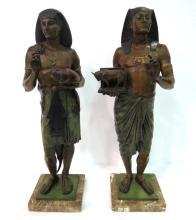 Pair of Emile Picault Bronze Egyptian Warriors
