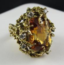 14Kt YG Citrine & 0.35ct Diamond Ring