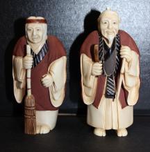 Impressive Polychrome Ivory Figures (2)