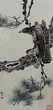Vintage Chinese Brush Painting of Eagle & Pine Tree