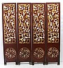 19th C. Antique Chinese Red Lacquered Floor Screen