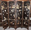 19th C. Antique Chinese Black Lacquered Floor Screen