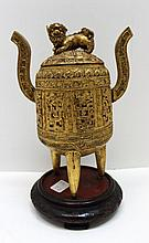 Vintage Chinese Gold Gilt Wood Vassel of Foo Dog