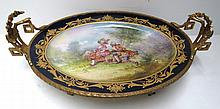 Sevres Hand Painted Porcelain & Dore Bronze Centerpiece