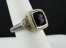 Judith Ripka 18Kt & Sterling Onyx Ring