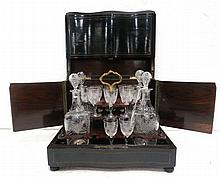 Antique Cut Crystal 4 Decanter Tantalus Set
