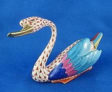 Herend Fish Net Porcelain Swan