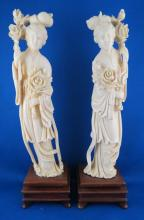 20th C. Carved Ivory Geisha Figurine's