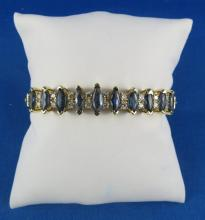14Kt YG 5ct Sapphire & Diamond Bangle