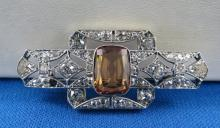 Belle Epoque Imperial Topaz Diamond Brooch